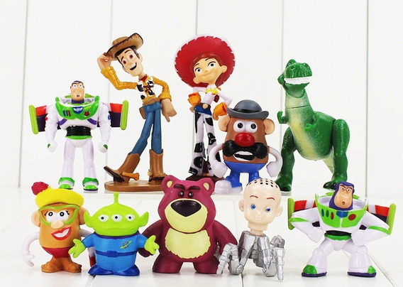 Kit 10 Action Figure Toy Story Buzz Woody Rex Jessi