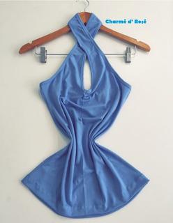 Blusa Transpasse Virada No Pescoço Decote Frente Unica Verao