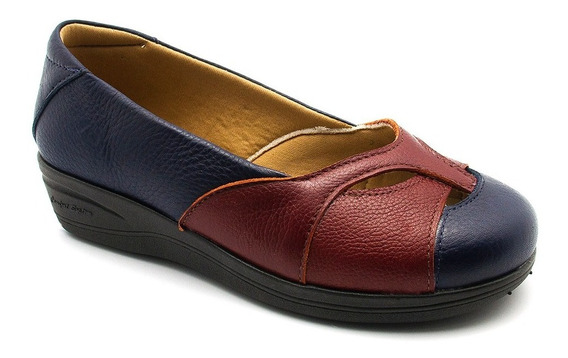 Sapato Feminino Anabela 194 Em Couro Floater Royal/floater V