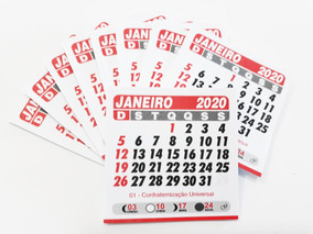 Bloco Mini Calendário Imã De Geladeira 2020 1000 Unid 5x5 C