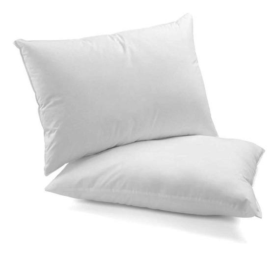 2 Travesseiros 100% Fibra De Silicone Antialérgico 50 X 70