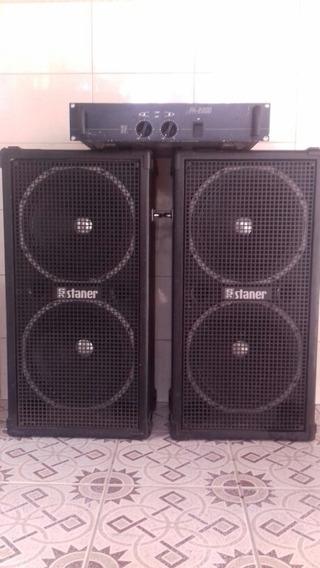 Amplificador Staner Upa-2000 E Duas Caixas Staner Upper 150f