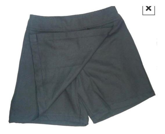 Pollera Pantalon, Azul, Colegial Talle 6 Al 16, Gabardina