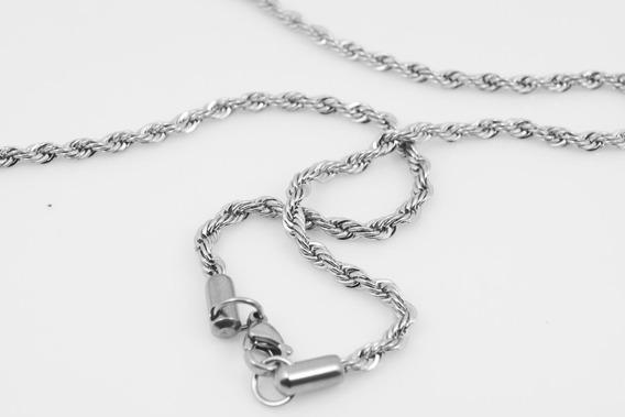 Colar Cordão Corrente Trançado Aço Inox 316l 55cm 2