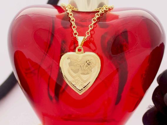 Colar Pingente Relicário Coração Folheado Ouro 18k