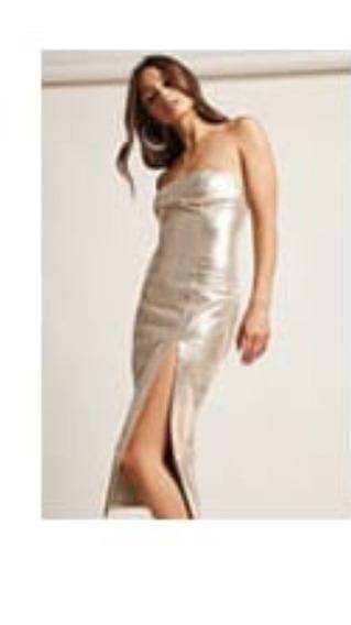 Vestido De Fiesta Nuevo Forever21.dorado Ultimo Tendencia