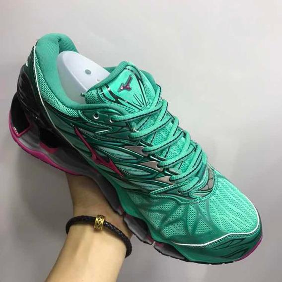 Tênis Mizuno Wave Prophecy 7 Importado Verde E Rosa Promoção