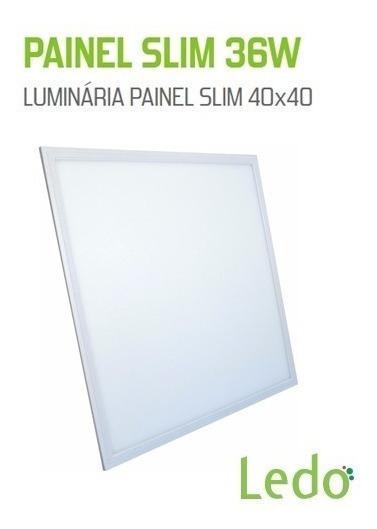 Kit 02 Luminaria Plafon 40x40 Embutir Branco Frio - Ledo