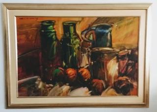 Pintura Óleo Sobre Lienzo Bodegón Mantilla Caballero 100x120