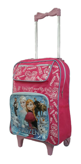 Mochila Escolar Infantil Feminina Frozen Rodinhas Grande Kit