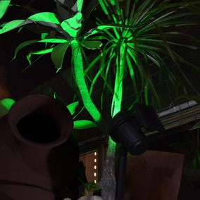 Refletor Led Solar Luminária Jardim Spot 20xluz Verde-amarel
