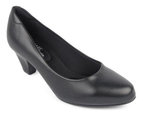 Sapato Feminino Ultraconforto Preto Fosco Salto Baixo Modare