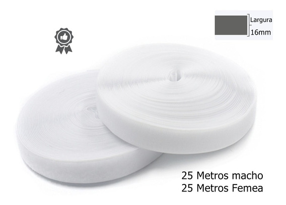 Cinta Fecho Contato Fio 16mm 50metros Branco Artesanato Ima