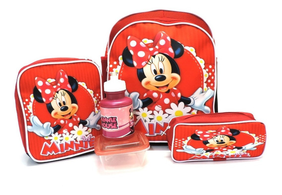 Kit Mochila Minnie Mouse Flores Tam M Costas Lancheira F5