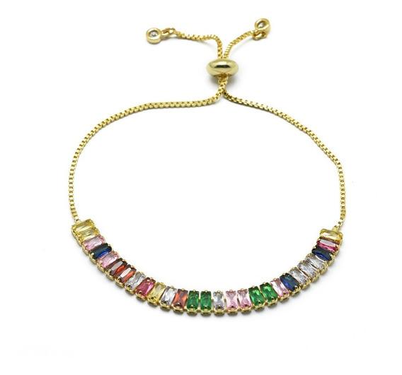 Pulsera Deslizante Rainbow Zirconias Chapa De Oro O Plata