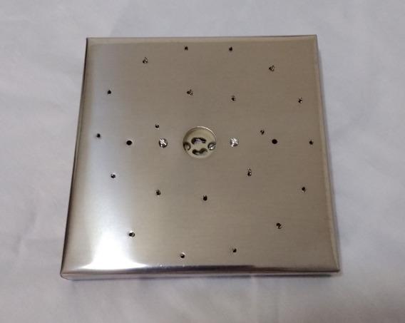 Base Aço Inox 17 Cm Quadrada Para Lustres Espiral 21 Furos