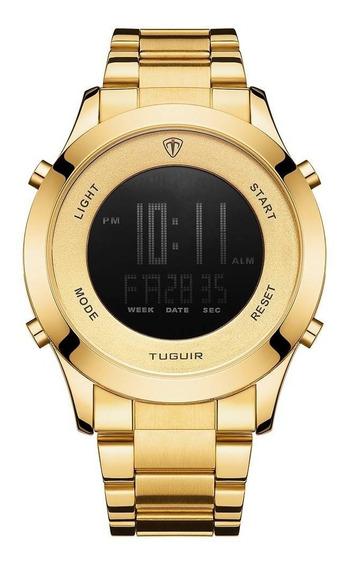 Relógio Masculino Tuguir Digital Tg103 - Dourado Original