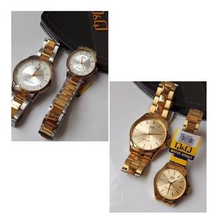 Relojes 2 Pareja Q&q Original Qyq Análogos Gold Dorado Acero