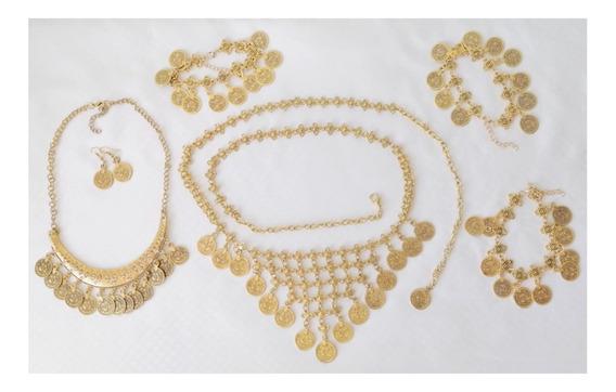 Set 6 Piezas Danza Del Vientre Danza Arabe Vintage Monedas Caderin, Collar, Aretes, 2 Pulceras Y Un Brazalete