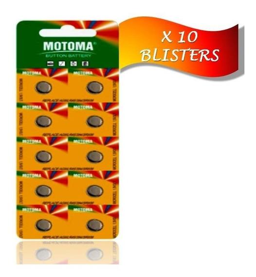 Pila Batería Alcalina Ag3 Lr41 Motoma Pack 10 Blisters 100 U