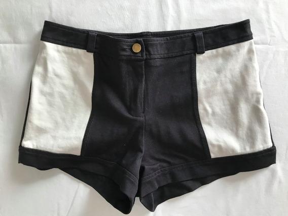 Las Pepas. Short Elastizado Negro + Blanco. Talle 2