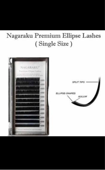 Pestañas Nagaraku Ellipse Premium Flat Doble Punta.2blisters