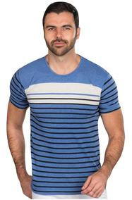 Playeras Hombre Casuales Moda Estampadas Azul Rayado A90157
