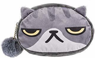 Ganz Pet Lovers Pom Pom Zipper Cosmetic Bag Case - Cat (gray