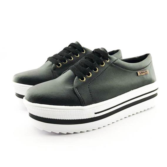 Tênis Flatform Quality Shoes 007 Preto Sola Alta Com Detalhe