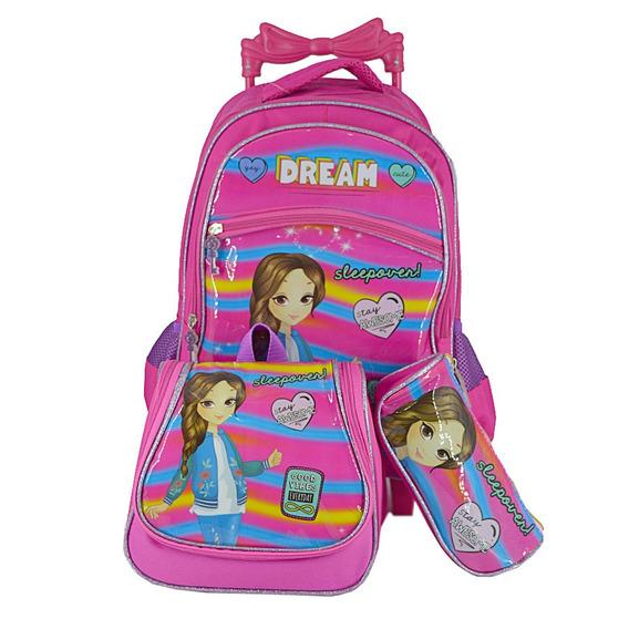 Mochila Feminina Infantil Rodinha Princesas Pc6230k Pink