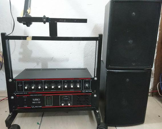 Potência Ms-2150 70v + Pré Amplifícador Ms250 Multsom + 02cx