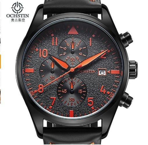 Relógio Luxo Ochstin Pulseira Couro Frete Gratis Cor Preto