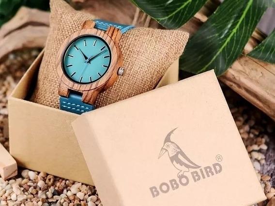 Relógio De Madeira Bobo Bird Feminino Couro Legítimo Azul