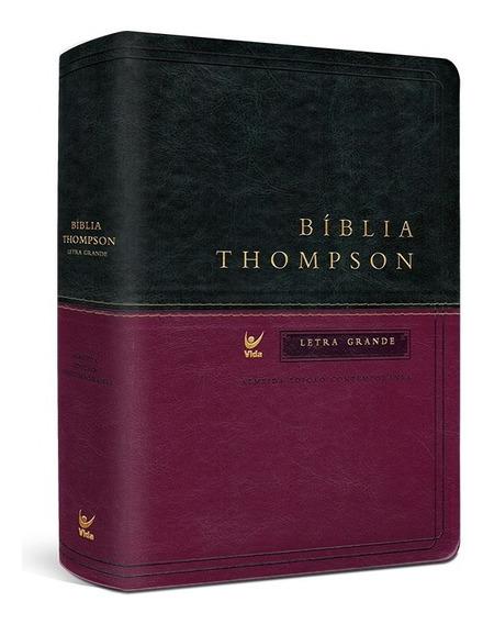 Biblia De Estudo Thompson Letra Grande Cp Luxo Verde E Vinho