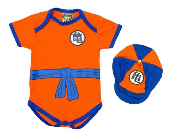 Bodie Fantasia + Boina Dragon Ball Goku Para Bebês Enxoval
