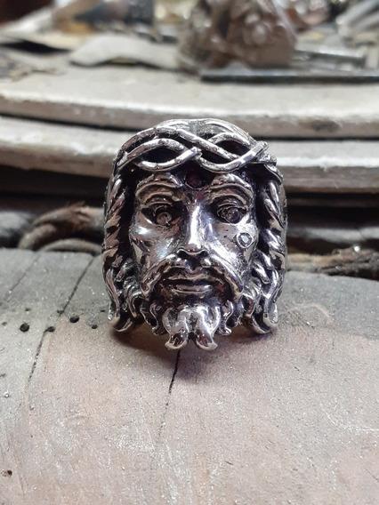Anel Cristo Em Prata 950 Com Pedras