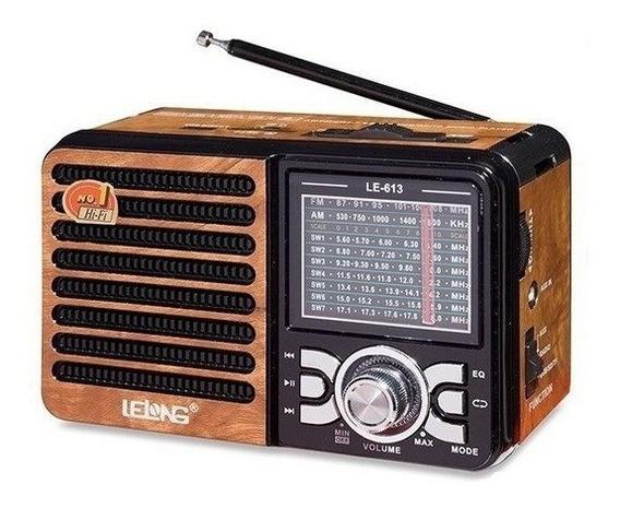 Rádio Lelong Le-613 Funciona Cartão Sd Bateria Recarregável