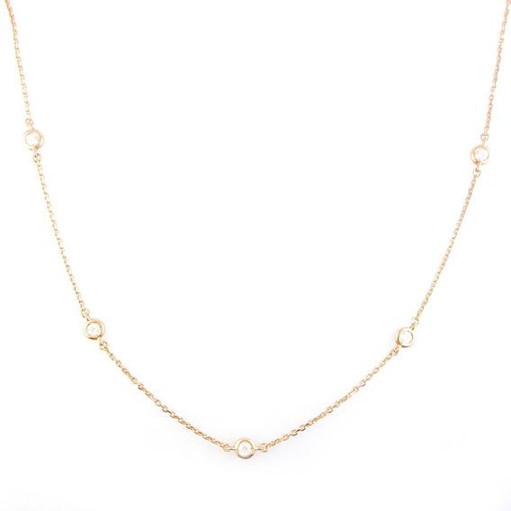 Cadena En Oro Rosa 18k Diamantes Talla Brillante - Mujer