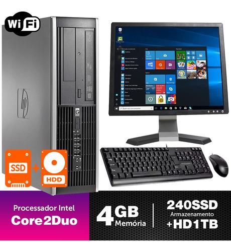 Imagem 1 de 5 de Computador Corporativo Hp Sff C2duo 4gb Ssd240+1tb Mon17q