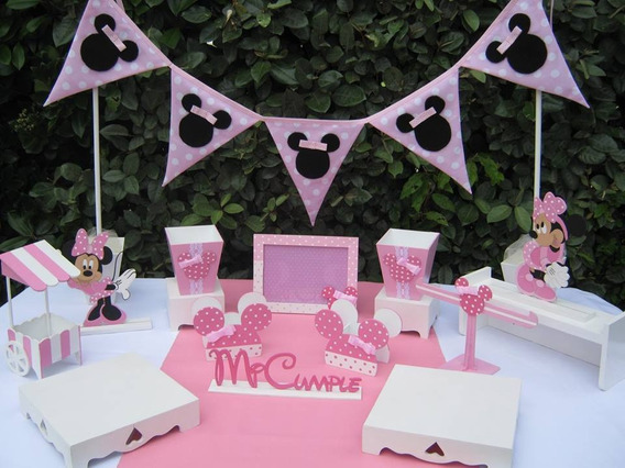 Alquiler Piezas De Candy Bar Set Minnie Mesa Dulce Posa Tortas
