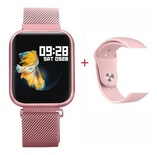 Relogio Smartwatch P80 Feminino Rose iPhone Android Samsung