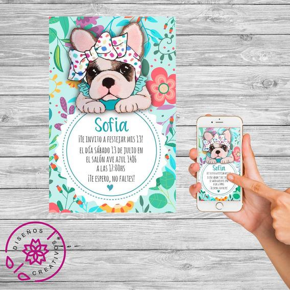 Tarjeta Invitacion Digital Perritos Simones Cumpleaños