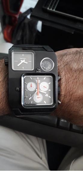 Relógio De Pulso Diesel Dual Time C Bússola Todo Funcional