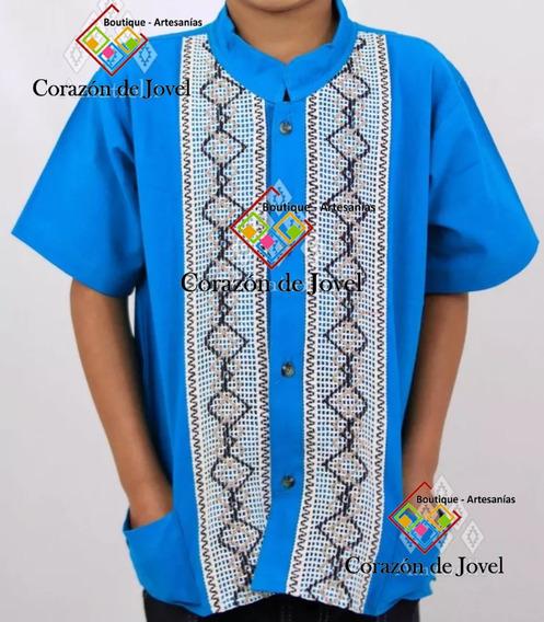 Camisa/guayabera Artesanal De Niño/ Mexicana- Chiapas