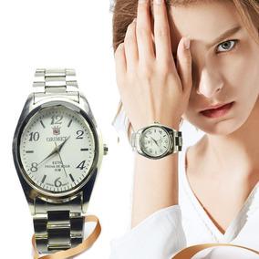 Relógio Feminino De Pulso Prateado Orimet Resistente Barato.