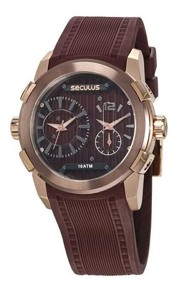Relógio Seculus Masculino Esportivo Marrom 35005gpsvxu2