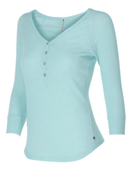 Blusa Ripzone Playa Bowen Henley Ml Mujer Azul