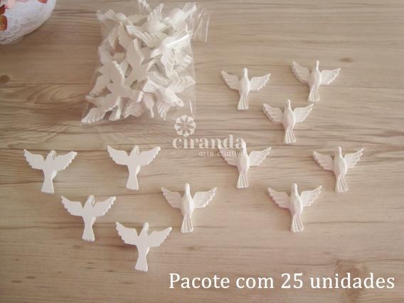 Kit Com 25 Divino Espirito Santo Aplique Resina Pombo Da Paz