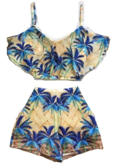 Conjunto Feminino Verão Cropped Short Cintura Alta Promoção