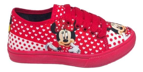 Sapato Minnie Infantil Feminino Promoção Tênis Sapatênis Confortável E Leve Barato Estampa Linda
